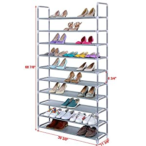 "SONGMICS 10 Tiers Shoe Rack 50 Pairs Non-woven Fabric Shoe Tower Storage Organizer Cabinet 39 3/8"" x 11 1/8"" x 68 7/8"" ULSR10G"