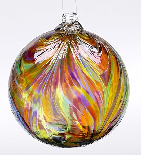 Kitras Art Glass Feather Witch Ball Festive Multi Colors 6