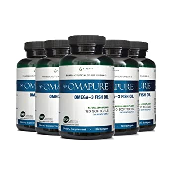 Image of OMAPURE Pharmaceutical Grade Omega-3 Fish Oil (5 Bottles; 120 softgels) | Made with IFOS 5-Star Certified Fish Oil - Tested for Purity, Potency, Radiation, and Freshness Health and Household
