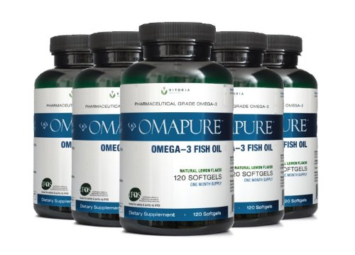 Food Science Sea Mussel - OMAPURE Pharmaceutical Grade Omega-3 Fish Oil (5 Bottles; 120 softgels) | Made with IFOS 5-Star Certified Fish Oil - Tested for Purity, Potency, Radiation, and Freshness