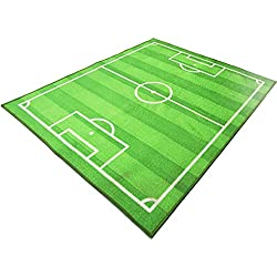 Funs Sport Football Soccer Field Ground Room Bedroom Playroom Carpet Mat Kids Area Play Floor Rug (Green, 51''x70'')