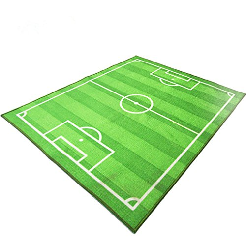 FUNS Soccer Field Ground Room Carpet Mat Kids Area Play Rug (Green, 51''x70'') (Soccer Rug Field)