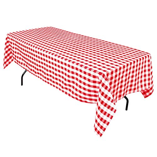 LinenTablecloth 60 x 102-Inch Rectangular Tablecloth Red & White Checker -