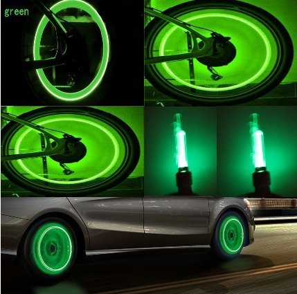 Bike Rite Brand Bike Wheel Lights Car Motorcycle Tire Valve Lights Cash Money Green Neon LED 100% Waterproof Motion Activated Bicycle Wheel Lights Kids Bike Safety Cycling Accessories ( 2 pack)
