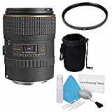 Tokina 100mm f/2.8 AT-X M100 AF Pro D Macro Autofocus Lens for Canon EOS (International Model) No Warranty+Deluxe Cleaning Kit + 55mm UV Filter + Deluxe Lens Pouch Bundle 5