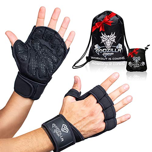 Godzilla Grip Fitness Gloves for Weightlifting, Crossfit - Black Workout Gloves with Wrist Support & Full Palm Protection for Men &Women - Hand Protection for Lifting, Workouts, Cross Training