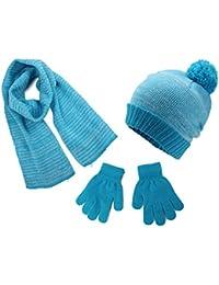 S.W.A.K Kids Girls Knit Pompom Beanie Hat Scarf and...
