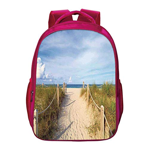 Beach Printing Backpack,Golden Sandy Beach South Miami with Fences American Style Holiday Login Relax Image for Kids Girls,11.8