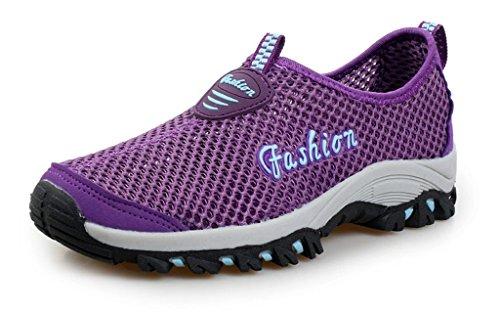 Eagsouni Damen Herren Aquaschuhe Strandschuhe Atmungsaktives Outdoor Hiking Trekking Schuhe Schnell Trocknend Mesh Wasserschuhe Wanderschuhe Turnschuhe Sneakers Violett