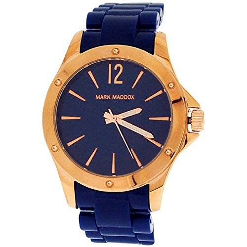 Mark Maddox Ladies Rose-Goldtone Bezel Dark Blue Bracelet Strap Watch MP3016-35