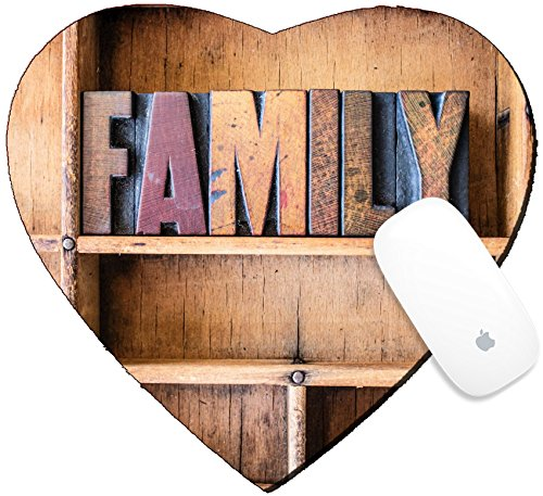 Word Family Words Mats (Luxlady Mousepad Heart Shaped Mouse Pads/Mat design IMAGE ID: 40232696 The word FAMILY written in vintage wooden letterpress type in a wooden type drawer)