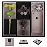 Black Leather Valet Tray for Men and Women, Nightstand Drawer Desk Dresser Organizer Coin Case Catchall Tray for Keys, Phone, Jewelry, Watches, Wallet and Accessories