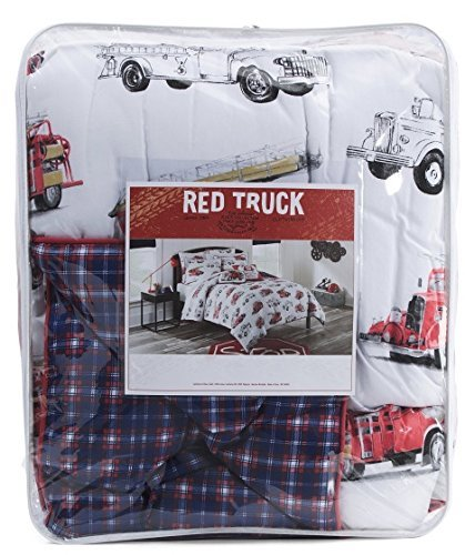 Red Truck 4-pc FIRE TRUCK Comforter Set - FULL QUEEN SIZE (includes 2 shams & 1 accent pillows shown on bed) FIRE ENGINE