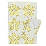 Game Tea Towels Rock, Paper, Scissor, Lizard, Spock (Yellow) by Studiofibonacci Set of 2 Linen Cotton Tea Towels