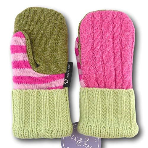 Jack & Mary Designs Handmade Kids Fleece-Lined Wool Mittens, Made from Recycled Sweaters in the USA (Pink/Green, Small/Medium)