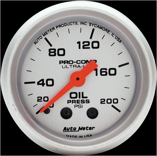 Autometer 4322 2'' OIL PRESS, 0-200 PSI, MECH, ULTRA-LITE by Auto Meter