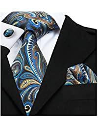 Men Ties Woven Tie Set with Pocket Suqare Cufflinks Paisley Necktie