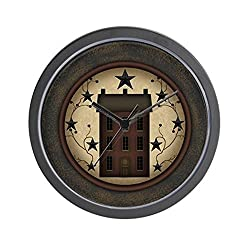 CafePress Primitive Saltbox and Stars Unique Decorative 10 Wall Clock
