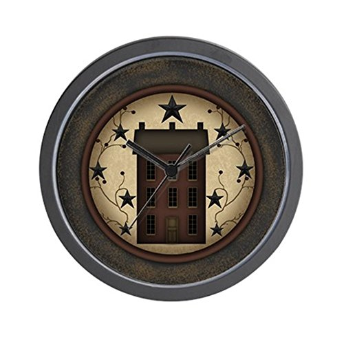 CafePress – Primitive Saltbox And Stars – Unique Decorative 10″ Wall Clock Review