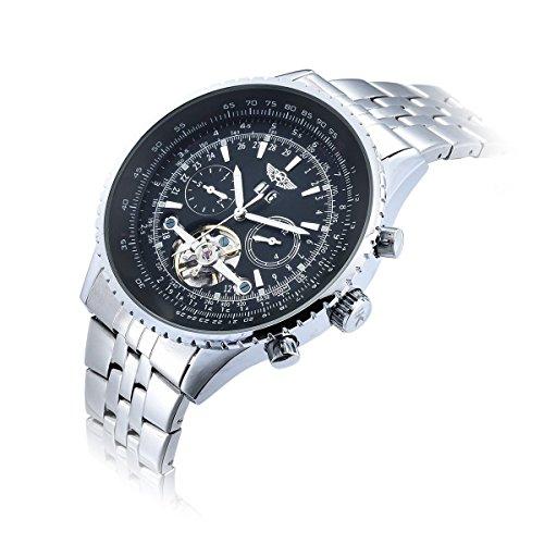 Yaki Marken Herrenuhr Automatikuhr Skelettuhr Mechanische Sportuhr Chronograph Armbanduhr Schwarz Zifferblatt mit Datum