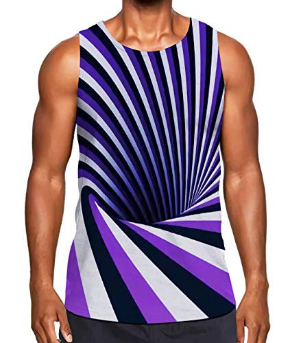Strip Tank - Alistyle Mens Tank Tops Summer 3D Strip Swirl Printed Sleeveless Tees Cool Crewneck Shirts L