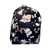 ABage Girl's Mini Backpack Casual Faux Leather Studded Floral Travel Backpack Purse, Black2