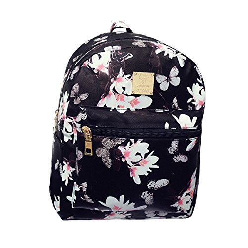 ABage Girl's Mini Backpack Casual Faux Leather Studded Floral Travel Backpack Purse, Black2 by ABage