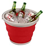 Wealers FDA Approved 10l Foldable Silicone Collapsible Bucket 2.6 Gallon, Water Storage, Compact and Lightweight, Great for Boating, Camping, Gardening, Fishing or Even As a Beer & Wine Cooler (Red)