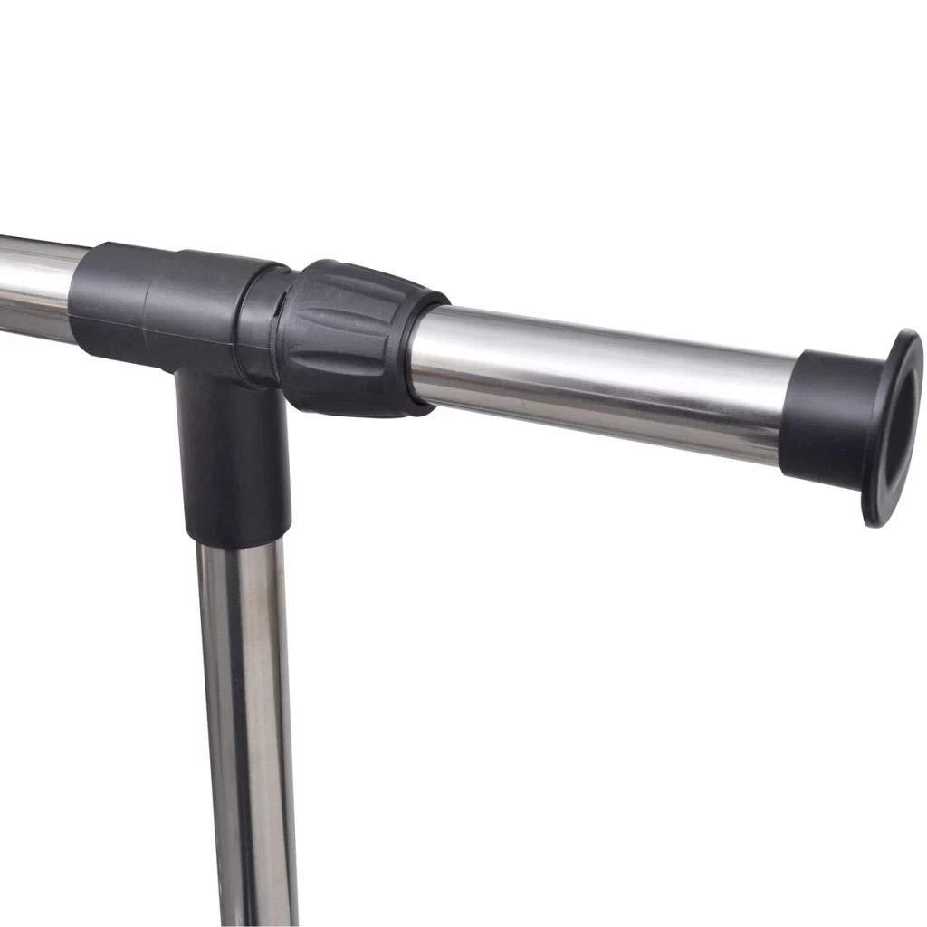 vidaXL Estante Ajustable para Ropa Perchero de Riel - 4 Ruedas 1 Barra