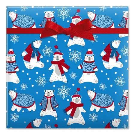 Polar Plunge Jumbo Christmas Rolled Gift Wrap - 1 Giant Roll, 23 Inches Wide x 35 feet Long, Heavyweight, Tear-Resistant, Holiday Wrapping Paper