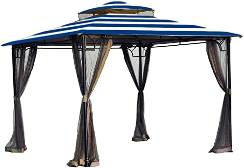 Garden Winds Replacement Canopy for The Bamboo Look Grove Gazebo – Standard 350 – Cabana Blue