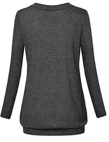 Hellmei Trendy Tops for Women 2018,Breastfeeding Shirts for Women, Long Sleeve Banded Hem Pleated Flattering Blouse Tunic Shirts for Women Black Grey Medium by Hellmei (Image #2)