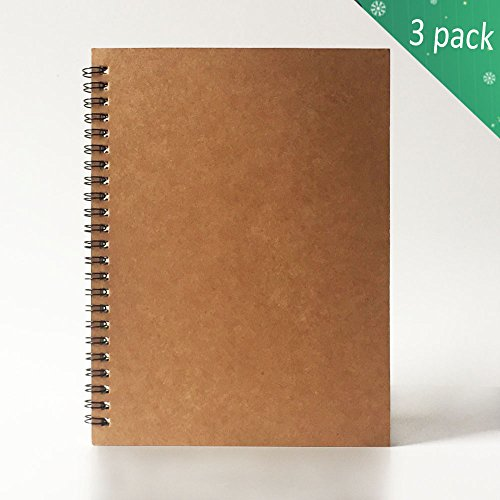 Spiral Notebook, 3 Pack Wirebound Notebook 1 Subject 60 Sheets of double-sided college ruled paper,8mm Wide Ruled By Twinkle (Reliable Buff )