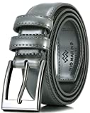 Marino's Men Genuine Leather Dress Belt with Single Prong Buckle - Charcoal - 32 (Waist: 30)