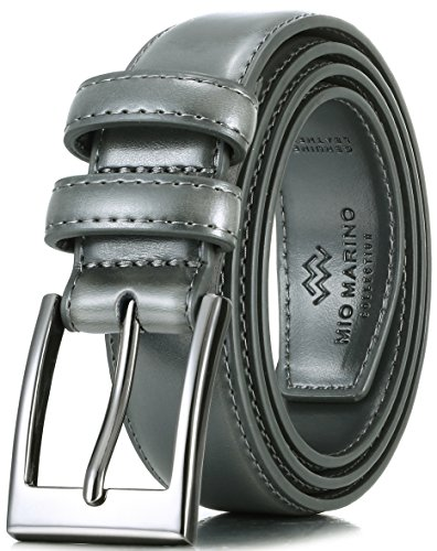Marino's Men Genuine Leather Dress Belt with Single Prong Buckle - Charcoal - 58 (Waist: 56)