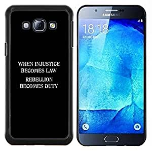 TECHCASE---Cubierta de la caja de protección para la piel dura ** Samsung Galaxy A8 ( A8000 ) ** --injusticia deber rebelión libertad ley