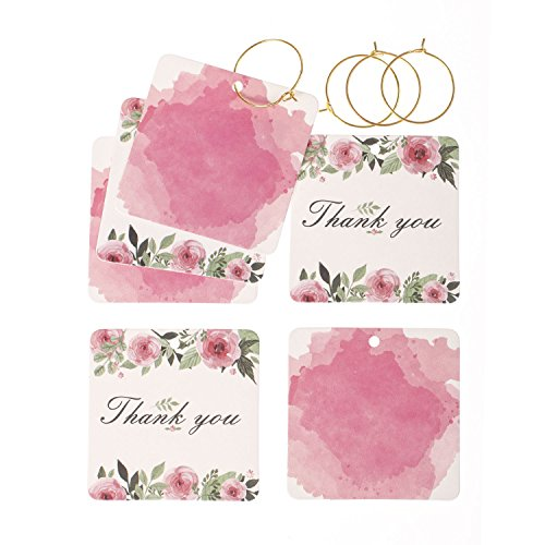 Pink Wedding Tag (Ling's moment 24pcs Thank You Gift Tags with Gold String Rings for Wedding Party Baby Shower Favors (Pink Flowers))
