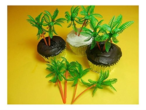 Grass Edible (12 Palm Trees Cupcake Toppers Picks Cake Pop Decorations Party Favors U.S Top Seller!)