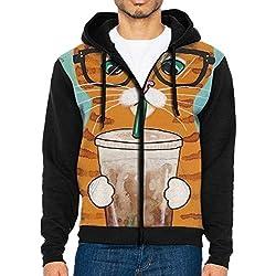 Men's Zip-Up Hooded Sweatshirt Cat Drink Coffee Sport Outwear Jackets