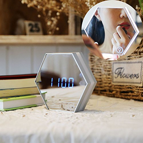 Rechargeable USB Glass Makeup Mirror Alert Clock LED Night-light Cosmetics Tools Multifunctional by BONas