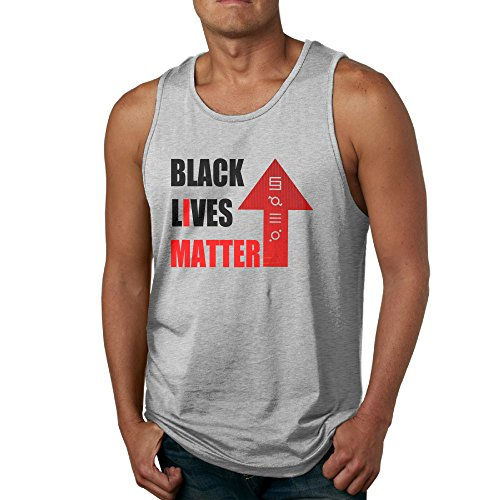 J3G9 Men's BLACK LIVES MATTER New Sleeveless Shirt Size L Ash