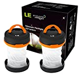 LED Camping Lantern - LE 2 Pack Outdoor LED Camping Lantern, Flashlight, Collapsible, Dual Purpose, 3 Modes, Battery Powered, Water Resistant, Home, Garden Lanterns for Hiking, Emergencies, Outages