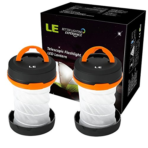 LE-2-Pack-Outdoor-LED-Camping-Lantern-Flashlight-Collapsible-Dual-Purpose-3-Modes-Battery-Powered-Water-Resistant-Home-Garden-Lanterns-for-Hiking-Emergencies-Outages