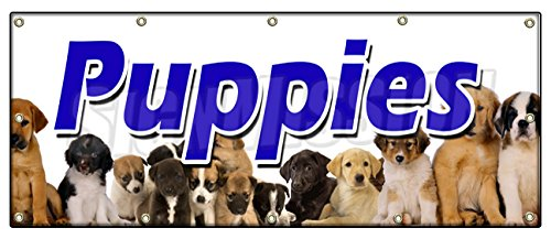48'x120' PUPPIES BANNER SIGN purebred breeder guaranteed cats healthy dogs