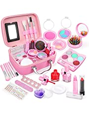 Dreamon kindermake-up sets voor meisjes, wasbare kinderen spelen make-upspeelgoed Nagellakset niet giftig met koffer, voor meisjesjongens