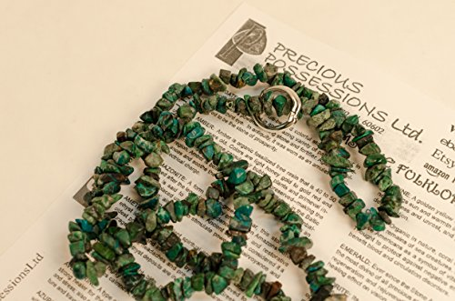 (Chrysocolla Necklace Chip Beads Nuggets Long Blue Green Strand 35 Inch with Clasp )