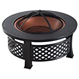 Outsunny 32'' Steel Round Backyard Wood Burning Fire Pit With Cover and Accessories