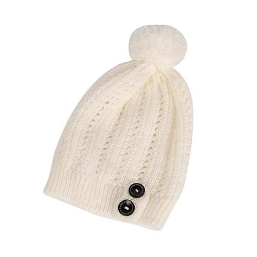 Tinksky Bottone di donne Slouchy Knitting Beanie Cap Caldo inverno Fall Ski Hat Natale regalo di compleanno per le donne