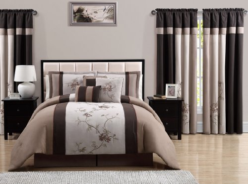Piece Embroidered Floral Bed in a Bag Comforter Set, King, Brown ()
