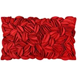 King Rose Solid Wool Handmade 3D Personalized Accent Throw Pillow Cases Decorative Euro Cushion Covers Home Decor 12 x 20 Inches Christmas Red